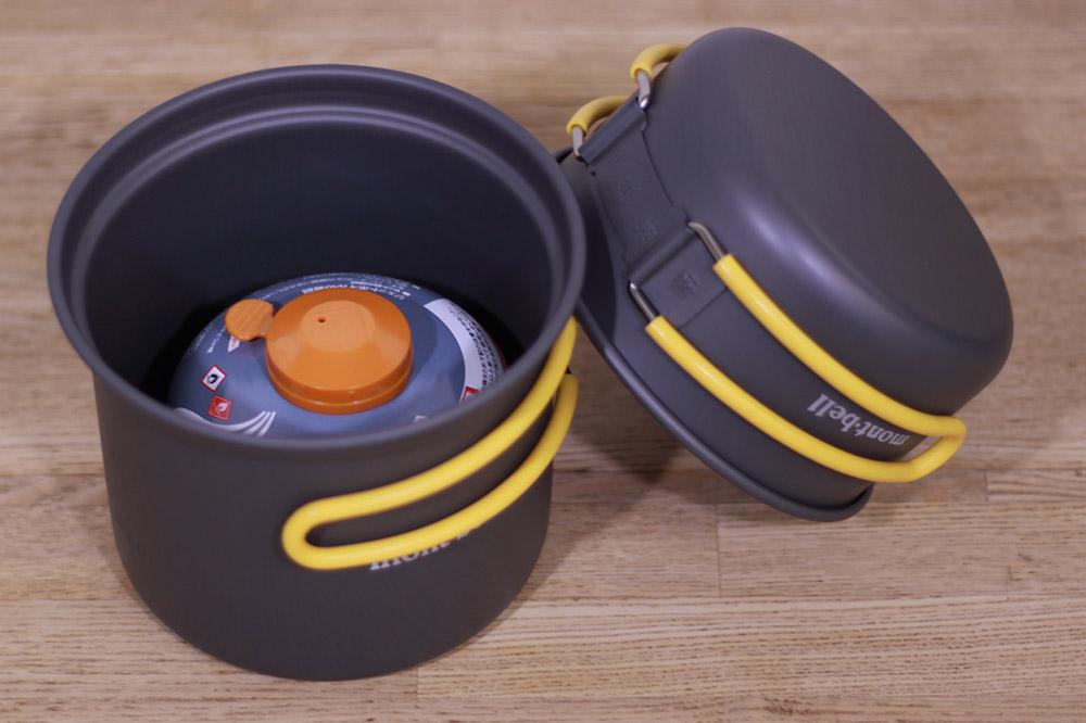 mont-bell(モンベル) アルパインクッカーディープ11 1124693 ガスカートリッジが収納できるサイズ