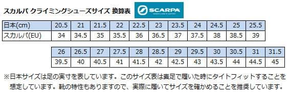 SCARPA(スカルパ) クライミングシューズ サイズ表